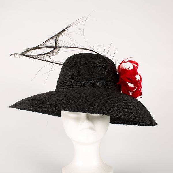 Pamela de paja fiorentina vintage con plumas y flor de pluma - Sombrerería Matilde Falcinelli