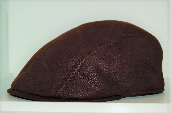 gorra marone piel marrón - Sombrerería Matilde Falcinelli