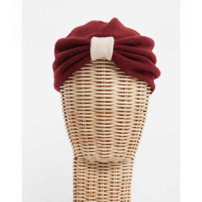 Turbante lana cocida granate - Sombrerería Matilde Falcinelli