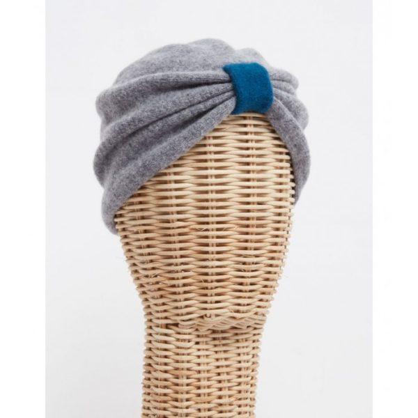 Turbante lana cocida gris - Sombrerería Matilde Falcinelli