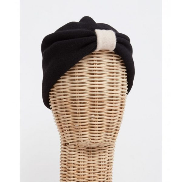 Turbante lana cocida negro - Sombrerería Matilde Falcinelli