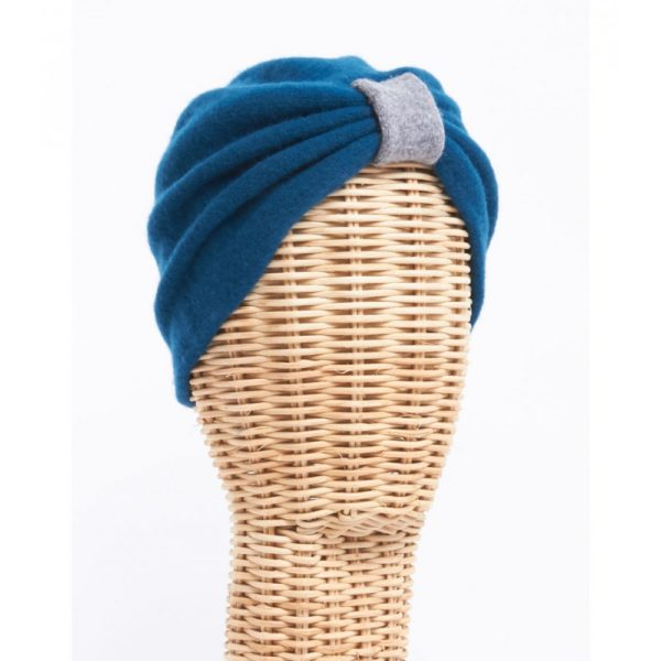 Turbante lana cocida azul - Sombrerería Matilde Falcinelli