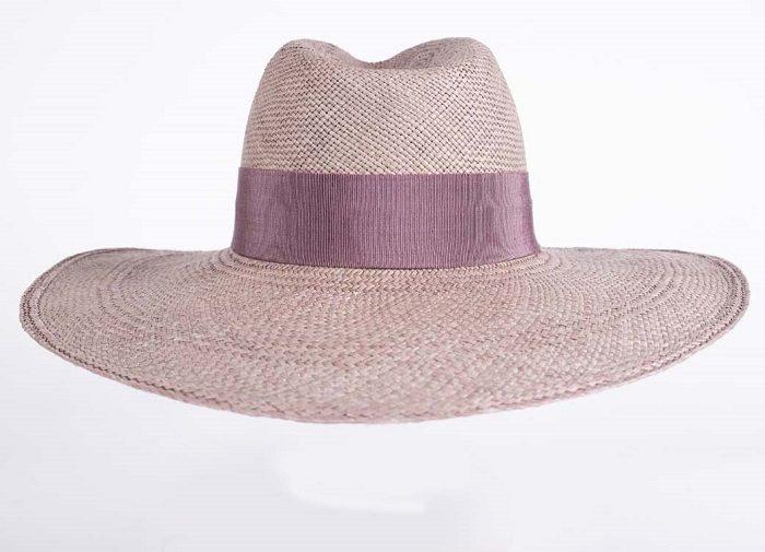 Sombrero Panamá pamela color lila pastel - Sombrerería Matilde Falcinelli