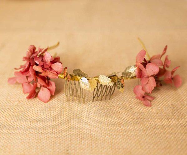 Corona flores y hojas doradas - Sombrerería Matilde Falcinelli