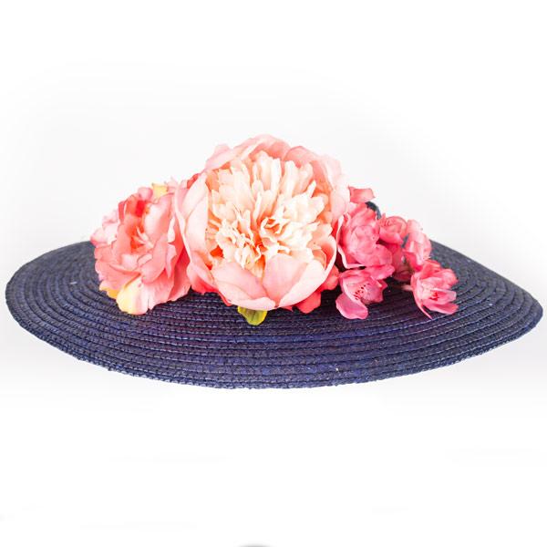 Ala de pamela sin copa con flores - Sombrerería Matilde Falcinelli