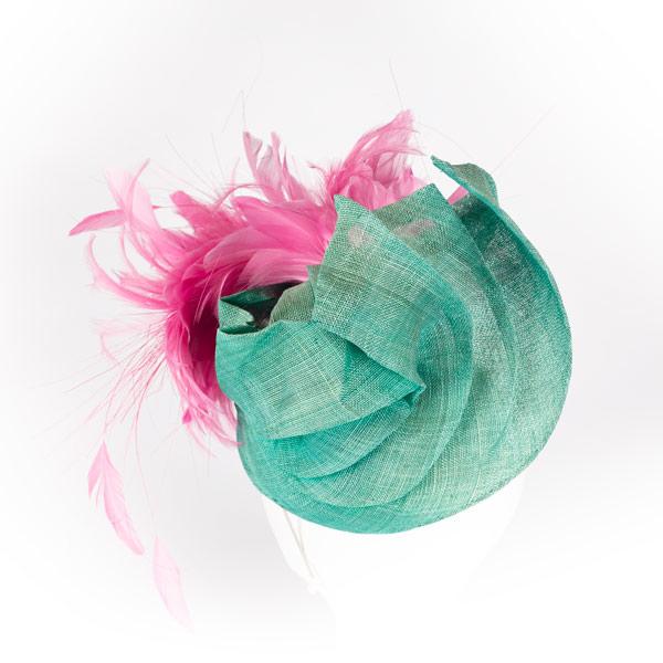 Tocado verde y rosa - Sombrerería Matilde Falcinelli