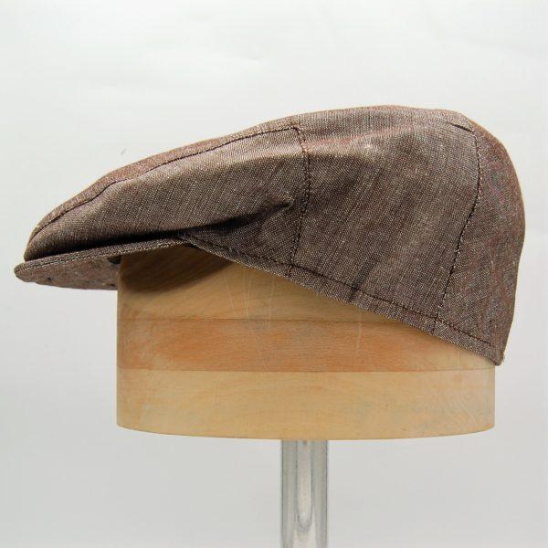 Gorra plana lino marrón - Beagle - Sombrerería Matilde Falcinelli