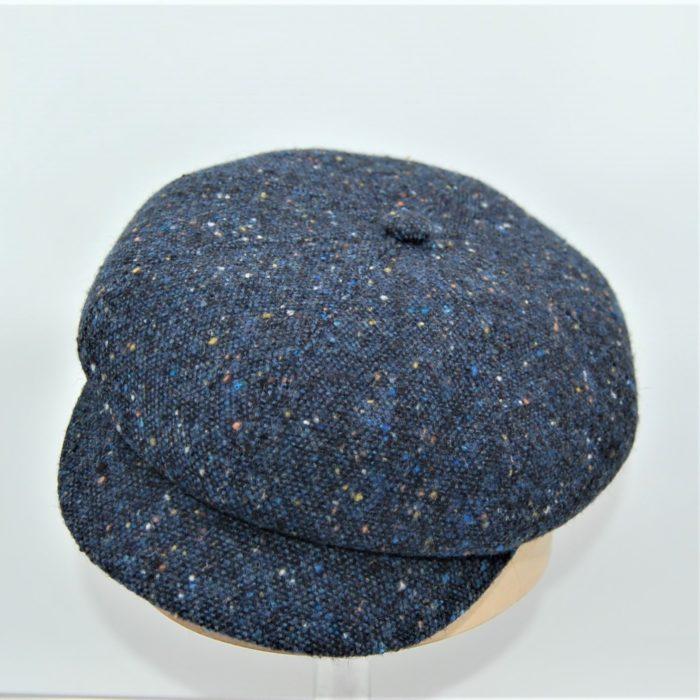 Gorra Newsboy tweed azul - Sombrerería Matilde Falcinelli