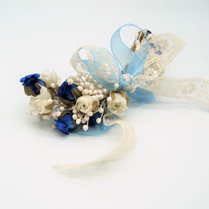 Tocado para Comunión Lazo blanco y azul - Sombrerería Matilde Falcinelli