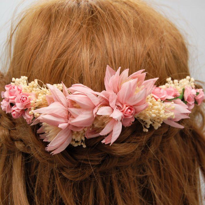 Prendedor flores rosas - Sombrerería Matilde Falcinelli