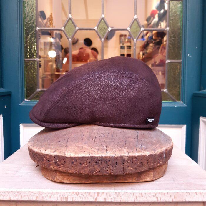 gorra piel marrón - Sombrerería Matilde Falcinelli
