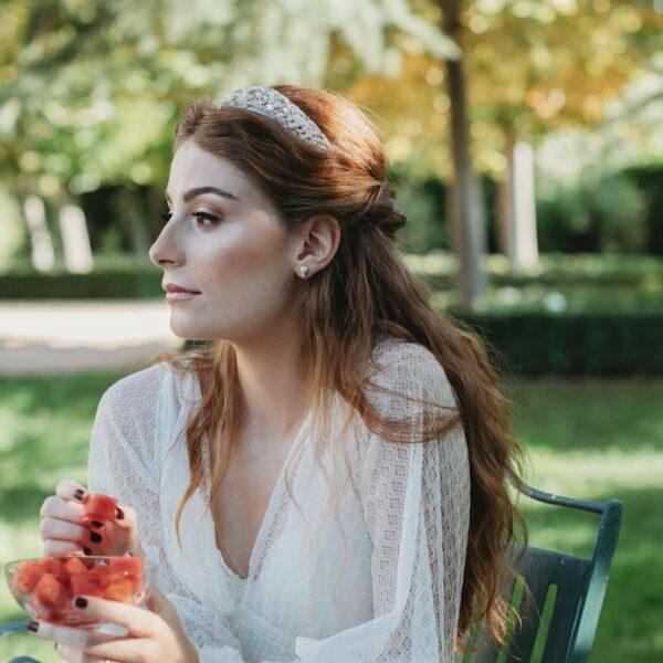 diadema joya para novia - Sombrerería Matilde Falcinelli