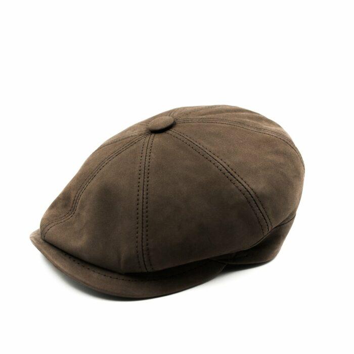 Gorra piel con botón - Sombrerería Matilde Falcinelli