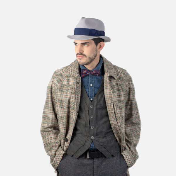 Sombrero trilby hombre gris perla