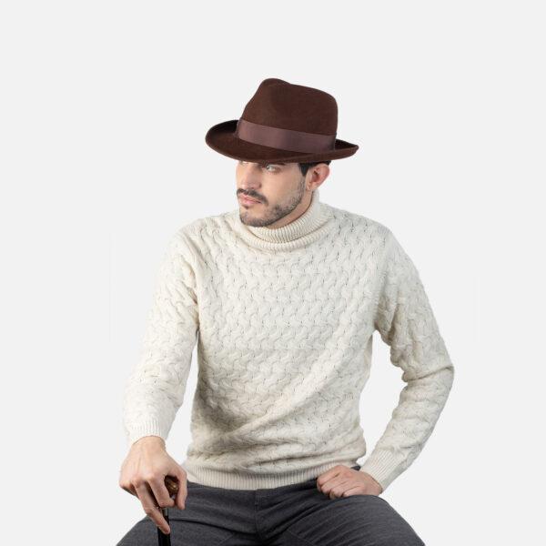 sombrero caza marron