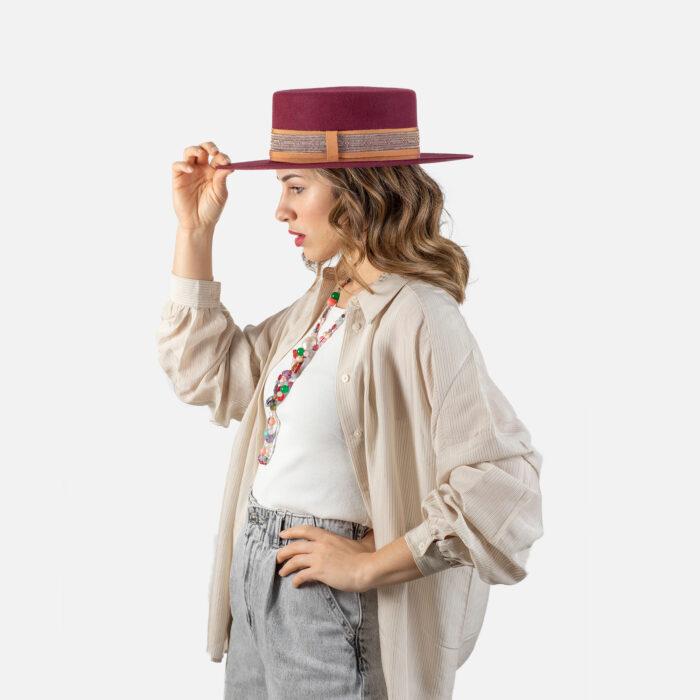 Sombrero ala plana grabado