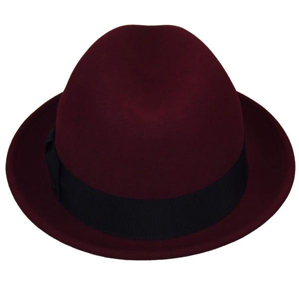 Sombrero Tino ala corta burdeos